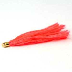 kvast i neonfarvet snørebånd med forgyldt messing top