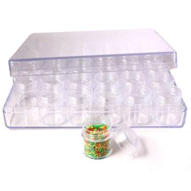 Opbevaringsæske med skruelåg til perler