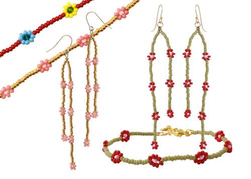 daisy chain blomster armbånd og øreringe