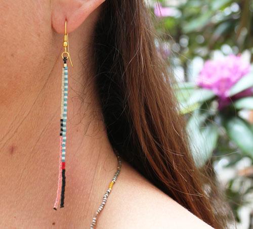øreringe med 2 rækker delica perler
