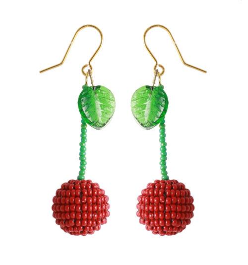 Kirsebær øreringe med seedbeads