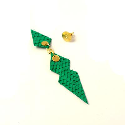 grønt fiskeskind til øreringe