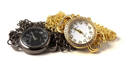 armbåndsur med brynjekæde i gunmetal og forgyldt