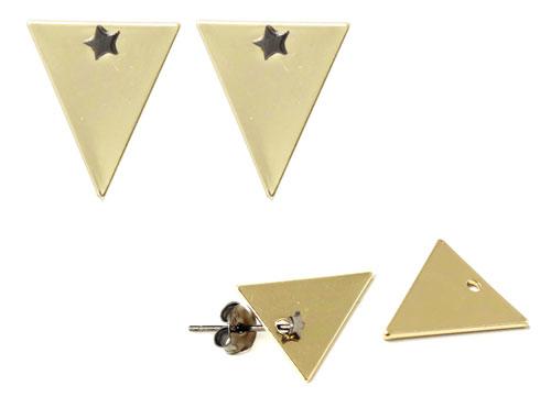ørestik med stjerner og trekantede vedhæng
