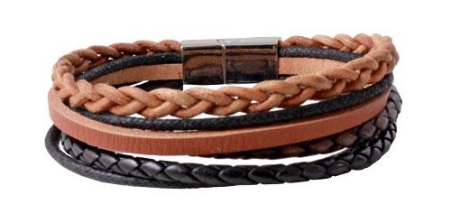 Læderarmbånd i sort og brun