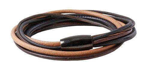 Læderarmbånd med tyndt lædersnor