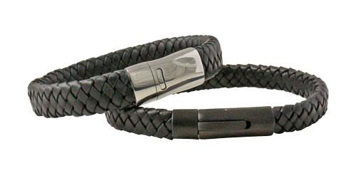 Herrearmbånd i sort flettet læder