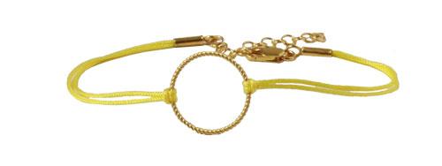 Lille gult armbånd med snoet ring