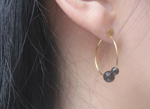 ørering med anborede onyx