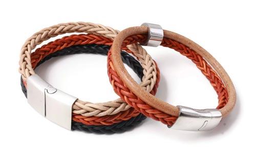 Læder armbånd til mænd med magnetlåse