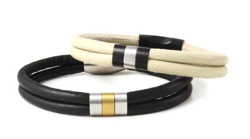 armbånd i læder med magnetlås og båndringe