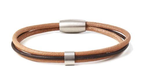 herre læderarmbånd med båndringe i stål