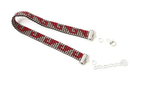 lås og kædeforlænger til vævet armbånd med delica perler