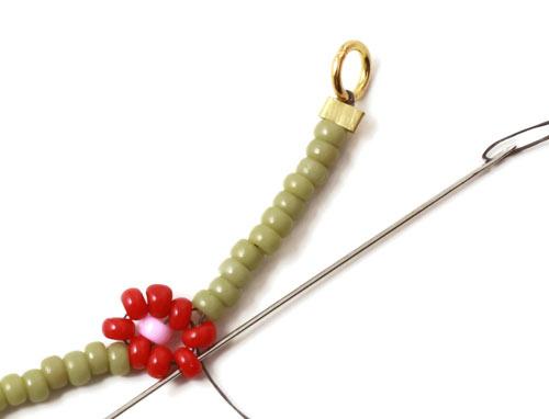 afslutning af daisy chain armbånd med seedbeads