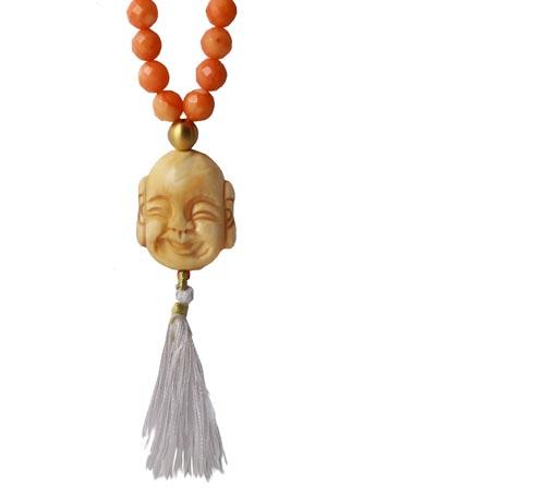 Halskæde i koral og buddha med kvast