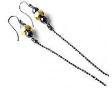 DIY – Øreringe med kuglekæde og forgyldt stål.