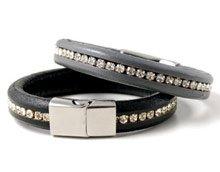 DIY – Læderarmbånd med indlagte rhinsten.
