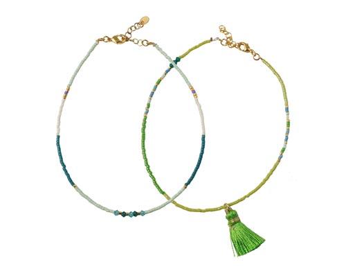 Ankelkæder med Delica perler og kvast