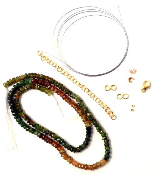 Materialer til halskæde med halvædelsten og wire