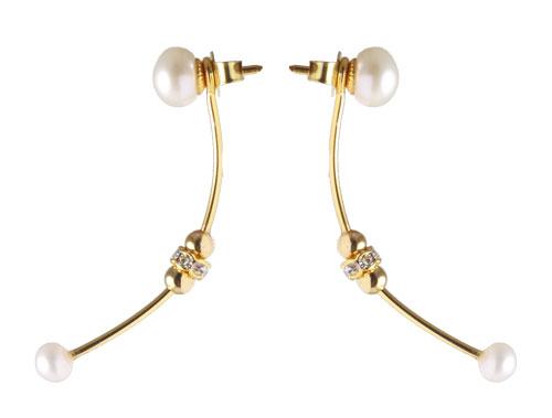 Øreringe med ferskvandsperler og forgyldt perler