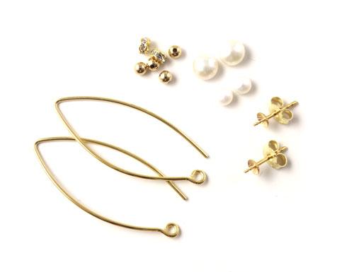 Materialer til øreringe i forgyldt sterlingsølv med perler