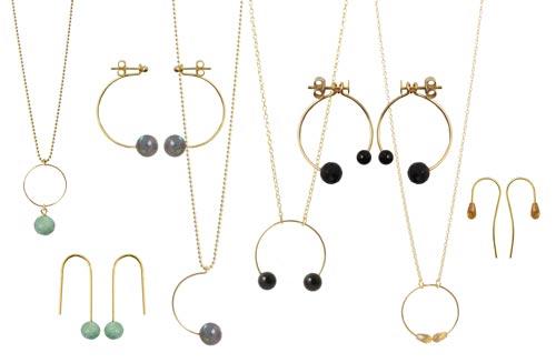 smykker med anborede halvædelstene