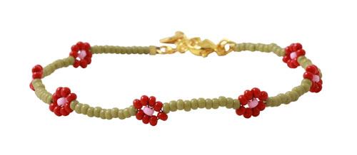 Daisy chain armbånd med seedbeads