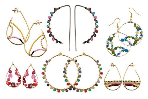 Forskellige ørekroge med snoet tråd og perler