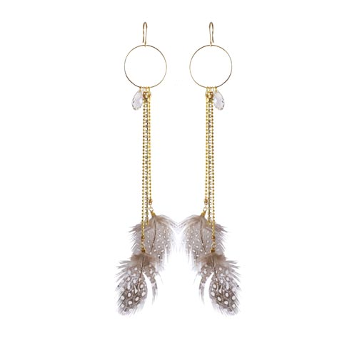 ørering med fjer fra perlehøne og swarovski krystal