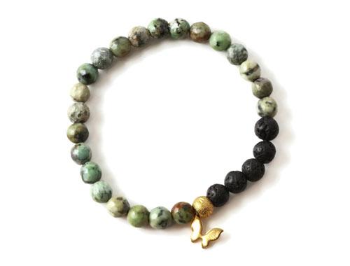 DIY Mala armbånd med afriskansk turkis og lava perler