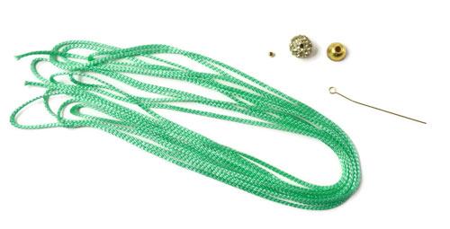 Tassel øreringe med krystaller DIY forgyldt sterlingsølv og polyestersnor