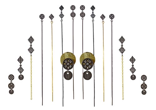 Øreringe i sterlingsølv, forgyldt sterlingsølv og oxideret sterlingsølv
