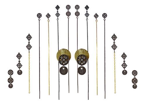 øreringe med krystaller og kæder