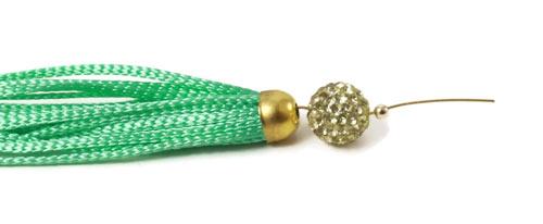 polyestersnor og perlestav med øje i forgyldt sterlingsølv og perle med krystaller