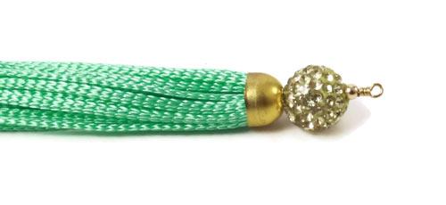 DIY polyestersnor og perlestav med øje i forgyldt sterlingsølv og perle med krystaller