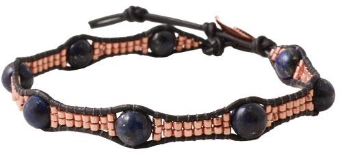 armbånd med delica perler, lapis lazuli og læder