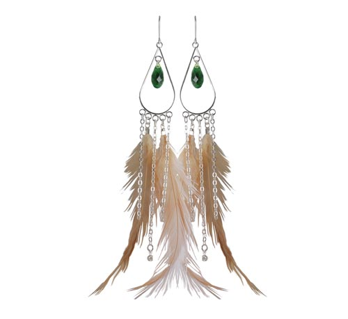 øreringe med fasankok og kæder