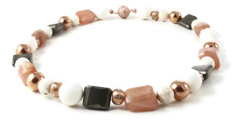 halskæde med rosa guld, stål og rosa forgyldt magnetlås