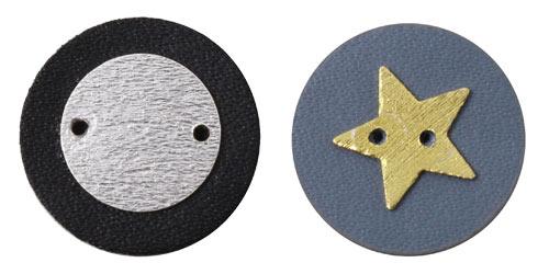 knapper med skind og sterlingsølv mønt og stjerne