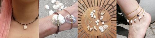 smykker med konkylier og skaller