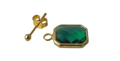 ørestiks med firkantede grønne glasvedhæng