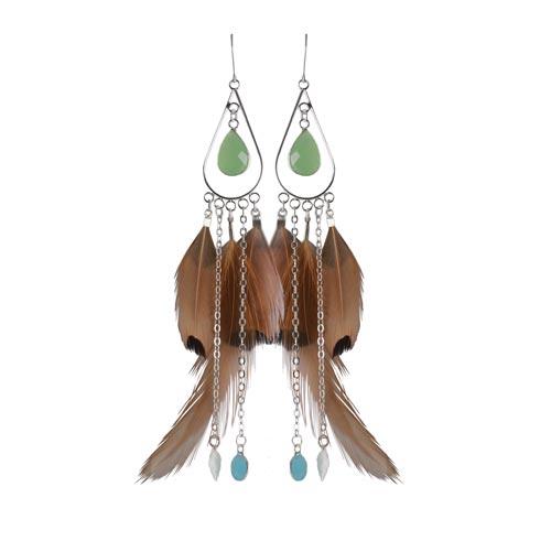 øreringe med fasanfjer og kæder