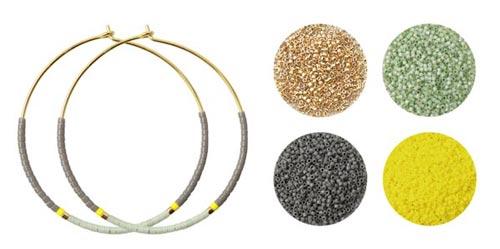 Creol øreringe med delica perler i grå og gule