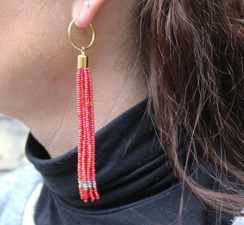 DIY Tassel øreringe med seed beads og kreoler