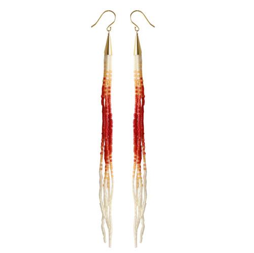 Lange tassel øreringe med frynser af delica perler