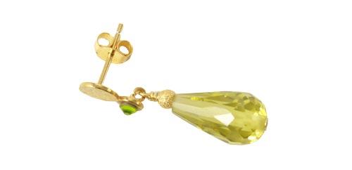 ørering med dråbe i grøn zirkonia