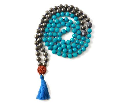 DIY Mala necklace halskæde med pyrit og jade og kvast