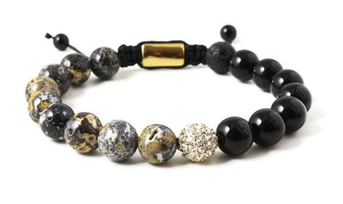 Herrearmbånd med jaspis og perle med krystaller