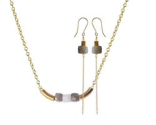 øreringe og halskæde med labradorit