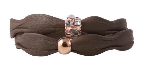 armbånd med khaki-brunt læder i bølgefacon